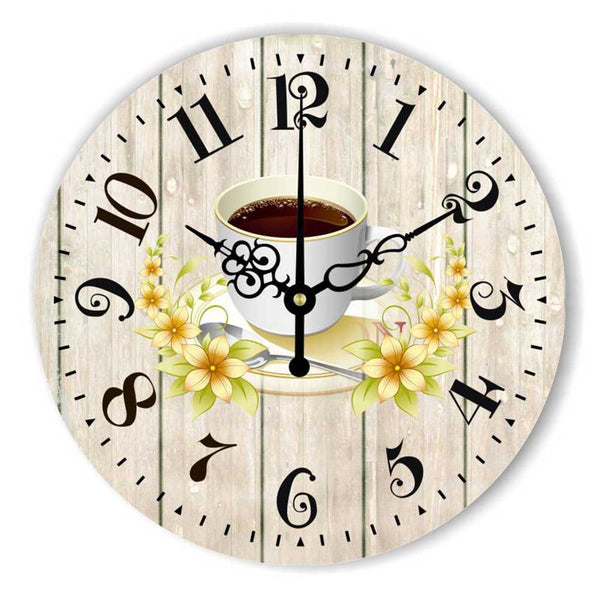 Modern Kitchen Wall Clock Creative Design Warranty 3 Years The Coffee Decorative Wall Clock More Silent Mediterranean Style