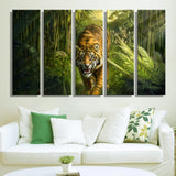5 Panel Canvas Tiger in Jungle Wall Art Decoration Painting Print On Canvas Modern Wall Picture For Living Room Unframed