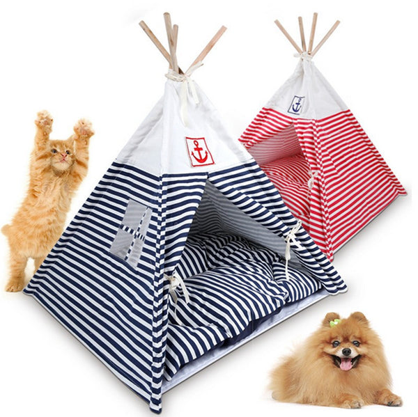 Small Dogs Teddy Dog House Pet Waterloo Naval Stripe Dog House Pet Tent Can Unpick And Wash GP160107-22
