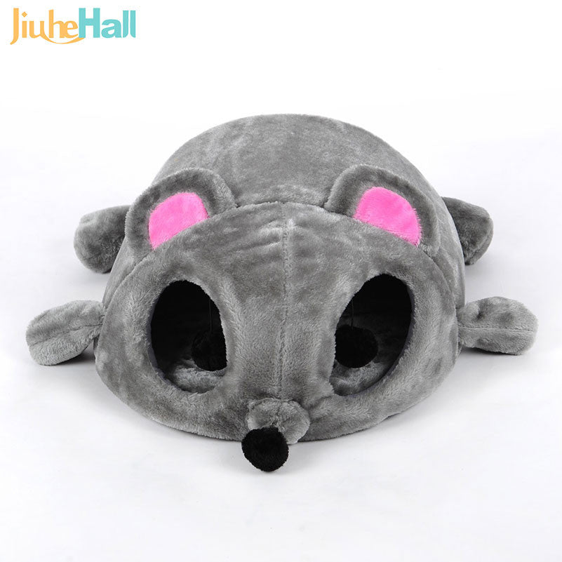 Free Shipping Size 50*40*21CM Cats Bed Cartoon Grey Mouse Shape Bed House For Small Cats Windproof Pet Supplies CLD118