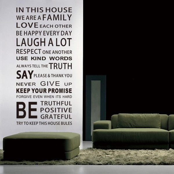 we are family living room home decorations quote wall decals zooyoo8085 house rules diy bedroom removable vinyl wall stickers