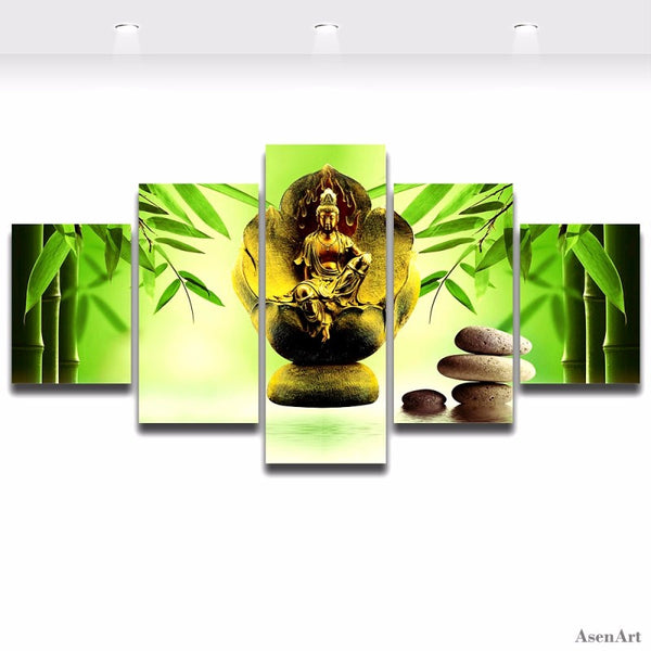 5 Pieces Modern Buddha Wall Art Canvas Printed Painting Decorative Picture Bamboo Stone Frameless Home Decor for Living Room
