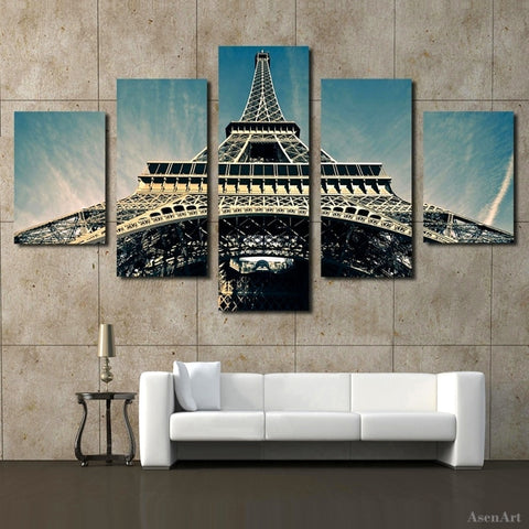 5 Panel Paris Tower City Landscape Modern Canvas Painting Print Wall Art Picture Living Room Bedroom Decoration Unframed