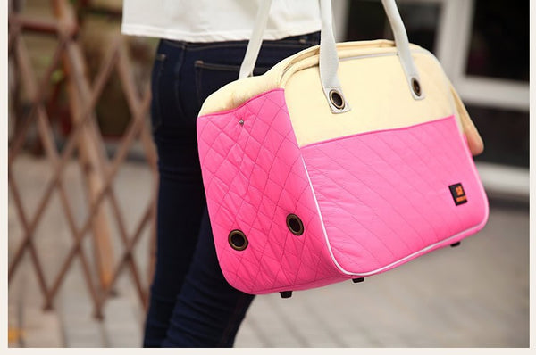 Dog Carrier Bag Windproof Nylon Diamond Quilted Fashion