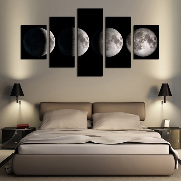 5 Piece(No Frame)Moon Modern Home Wall Decor Canvas Picture Art HD Print Painting On Canvas for Living Room