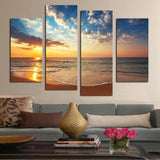 4 Pcs (No Frame) HD Sunset Seaview Wall Art Picture Home Decoration Living Room Canvas Print Painting Wall picture