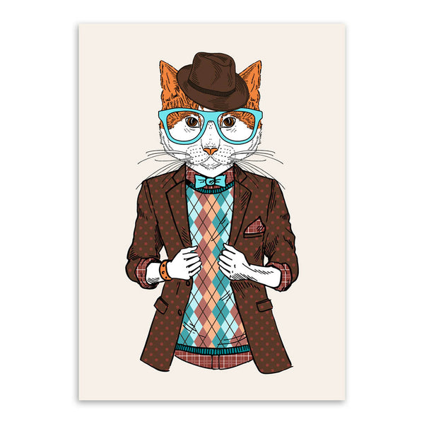Modern Fashion Animals Cartoon Hippie Cat  Art Print Poster Home Wall Picture Canvas Painting Kids Room Home Decoration No Frame