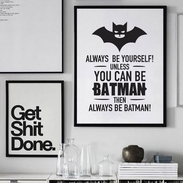 Batman Quote Canvas Art Print Poster, Wall Pictures for Home Decoration, Frame not include FA246-2