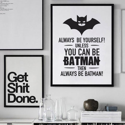 Batman Quote Canvas Art Print Poster, Wall Pictures for Home ...