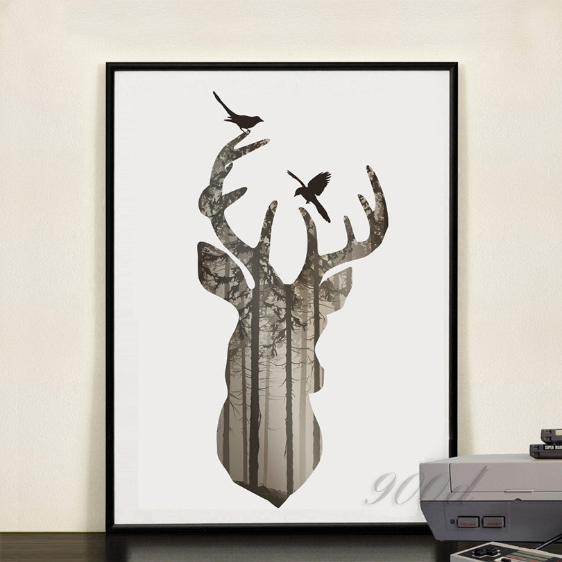 silhouette of deer head with pine forest Canvas Art Print Painting Poster,  Wall Picture for Home Decoration, Home Decor FA396-5