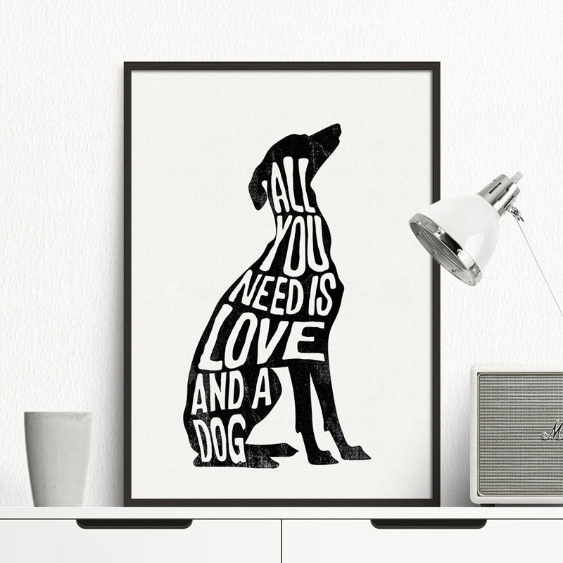 Italian Greyhound - Greyhound Poster Dog Minimal, Wall Art Print Canvas Minimalist Poster, Home Decor Frames Not included