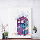 Original Watercolor Modern Dr Who London Telephone Booth A4 Art Prints Poster Abstract Wall Pictures Canvas Painting Home Decor