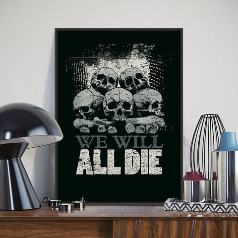 Modern Black White Skull Rock Roll Inspirational Quotes Typography Poster Prints Hippie Canvas Painting Home Wall Art Decor Gift