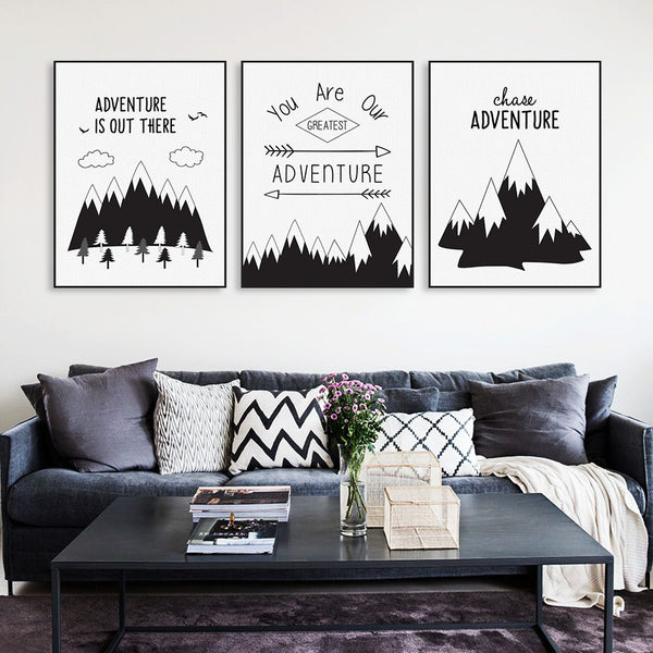 Minimalist Nordic Black White Typography Adventure Quotes Art Print Poster Wall Picture Canvas Painting No Frame Boy Room Decor