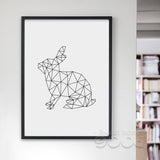 Geometric Rabbits Canvas Art Print Poster, Wall Pictures for Home Decoration, Wall decor FA221-4