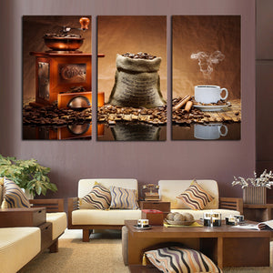 3 Pcs( No frame) Coffee Large HD Wall Art PictureTop-rated Canvas Print Painting For Living Room Decoration Home Picture