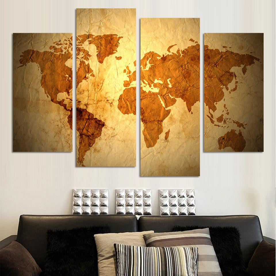 free shipping abstract map pictures canvas painting wall pictures 4 ...