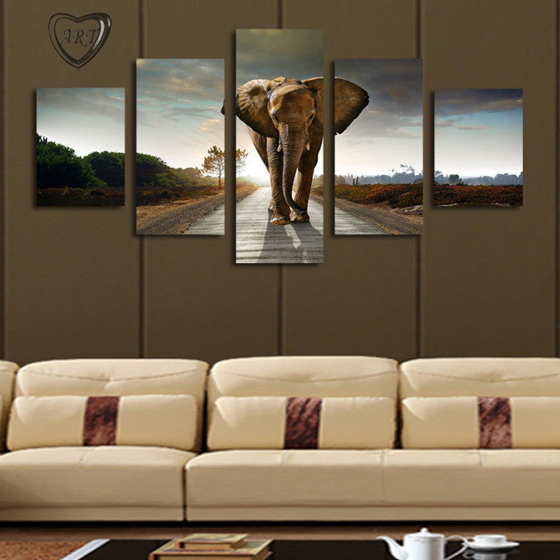 Home Decorat: 5 Pcs(No Frame) Elephant Painting Canvas Wall Art Picture