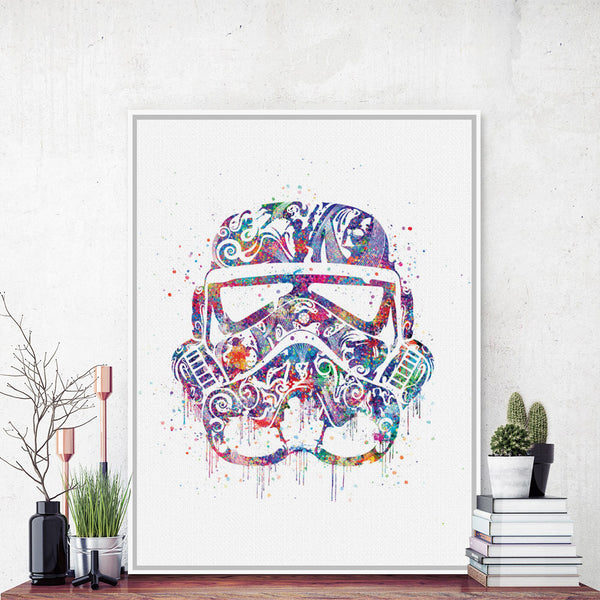 Original Watercolor Star Wars Helmet Mask Darth Vader Pop Movie Art Print Poster Abstract Wall Picture Canvas Painting Home Deco