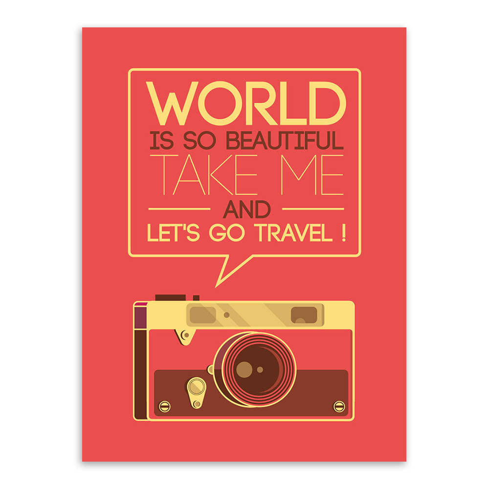 Poster Quotes About Life Vintage Retro Travel Camera Motivation Typography Life A4 Quotes
