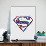Original Watercolor Superman Logo Pop Movie Anime A4 Art Prints Poster Cartoon Wall Picture Canvas Painting No Framed Home Decor