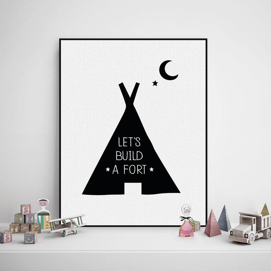 Black White Nordic Minimalist Typography Quote A4 Art Print Poster Nursery Wall Picture Canvas Painting Boy Kids Room Decoration