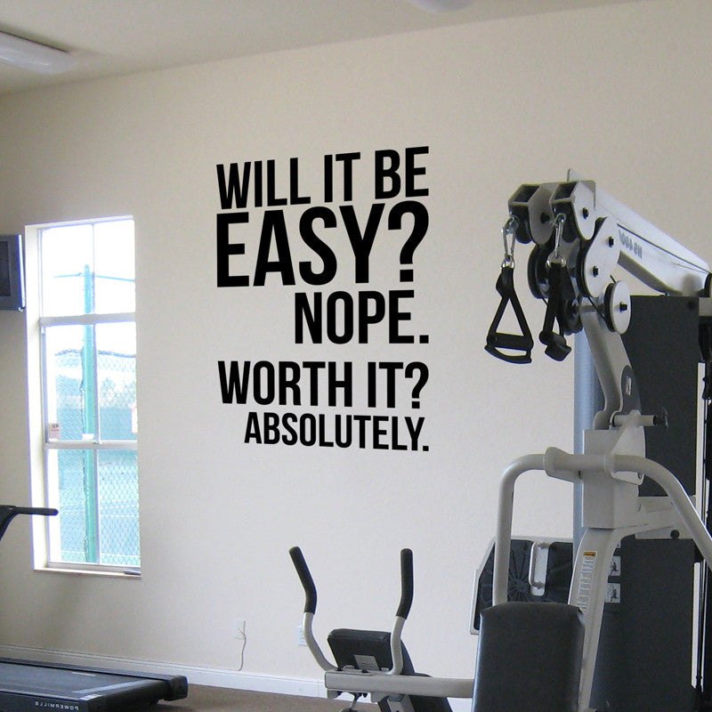 will it be easy. nope. worth it - absolutely. wall fitness decal