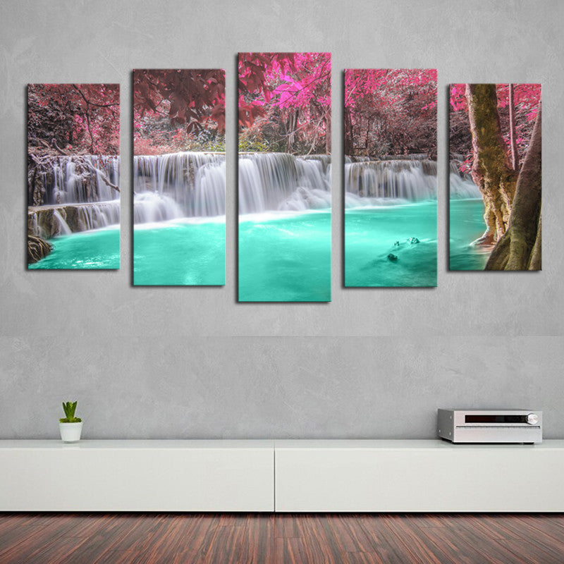 5 panels(No Frame)  Waterfall Modern Home Wall Decor Painting Canvas Art HD Print Painting Canvas Picture For Home Decor