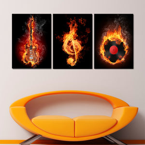 3 Panels Wall Art Decorative Painting Paint on Canvas Prints Black And Yellow Burning Guitar Musical Note Pictures Home Decors