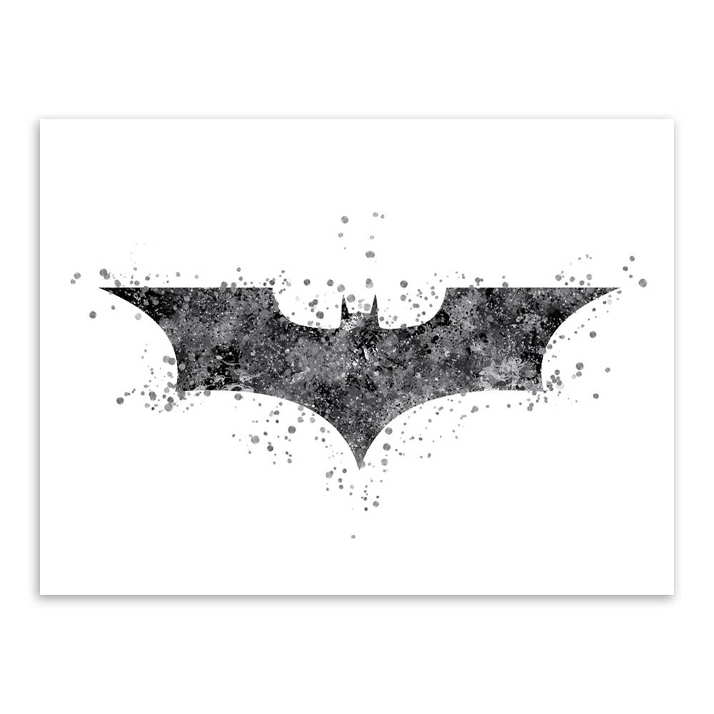 Original Watercolor Batman Logo Pop Movie Anime A4 Big Art Print Poster Abstract Wall Picture Canvas Painting No Frame Home Deco