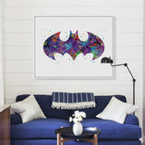 Original Watercolor Batman Logo Movie Anime Art Print Poster Abstract Wall Picture Canvas Painting No Frame Kids Room Home Decor