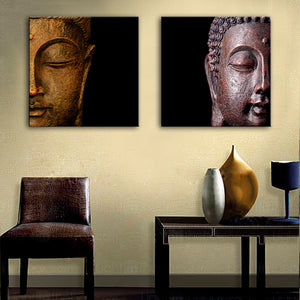 Free Shipping E-HOME Oil Painting Buddha Head Decoration Painting Home Decor On Canvas Modern Wall Prints Set Of 2