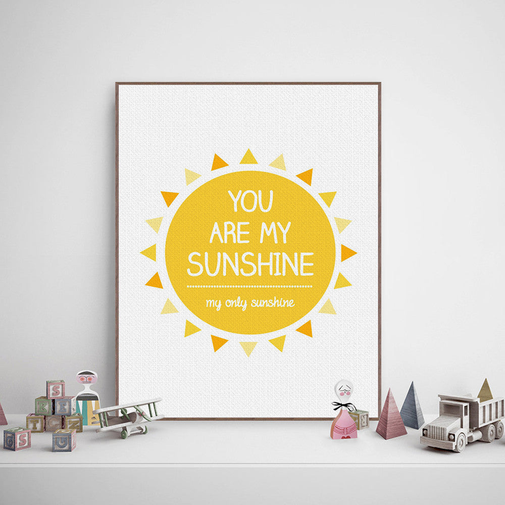 Modern Minimalist Yellow Sunshine Typography Love Quotes A4 Art ...