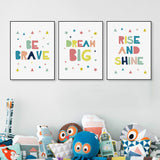 Kawaii Minimalist Colorful Dream Brave Quotes A4 Big Canvas Art Print Poster Wall Picture No Frame Kids Baby Room Decor Painting