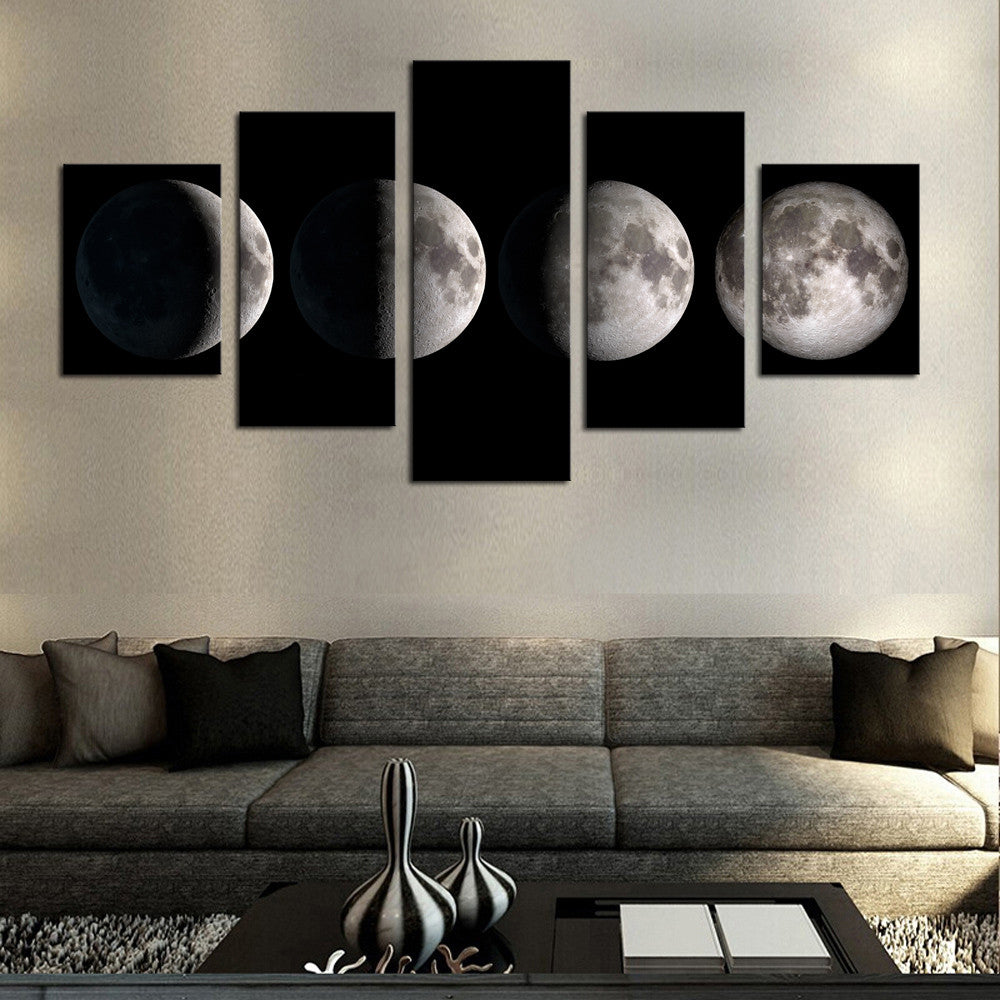 5 piece no frame moon modern home wall decor canvas - Contemporary wall art for living room ...