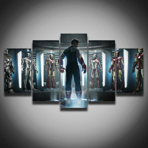 Printed movie posters Marvel Iron Man picture painting on canvas 5 panels for children baby room wall home decoration Canvas art