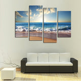 4 Pcs(No Frame) Hot Beach Seascape Modern Wall Painting Home Decorative Art Picture Paint On Canvas Prints Pictures