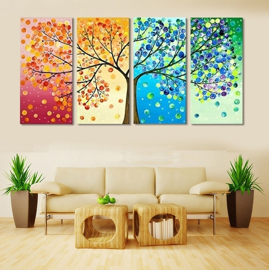 4 piece frameless colourful leaf trees canvas painting for Piece of living room decor