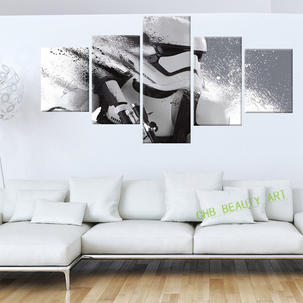 5 Piece Printed Star Wars Movie Poster Group Canvas Painting Wall Pictures For Living Room decorative pictures