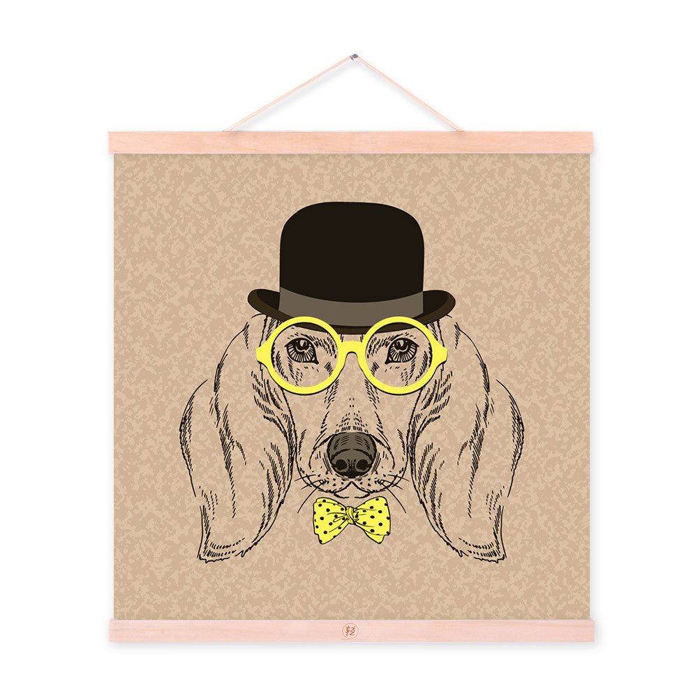 Vintage Retro Dog Head Gentleman Animal Portrait Wooden Framed Canvas Painting Wall Art Prints Picture Poster bedroom Home Decor