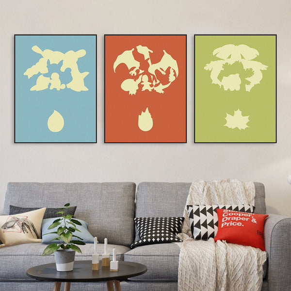 Modern Triptych Pop Japanese Anime Poke Monster Game Canvas A4 Print Poster Wall Pictures Kids Baby Room Decor Painting No Frame