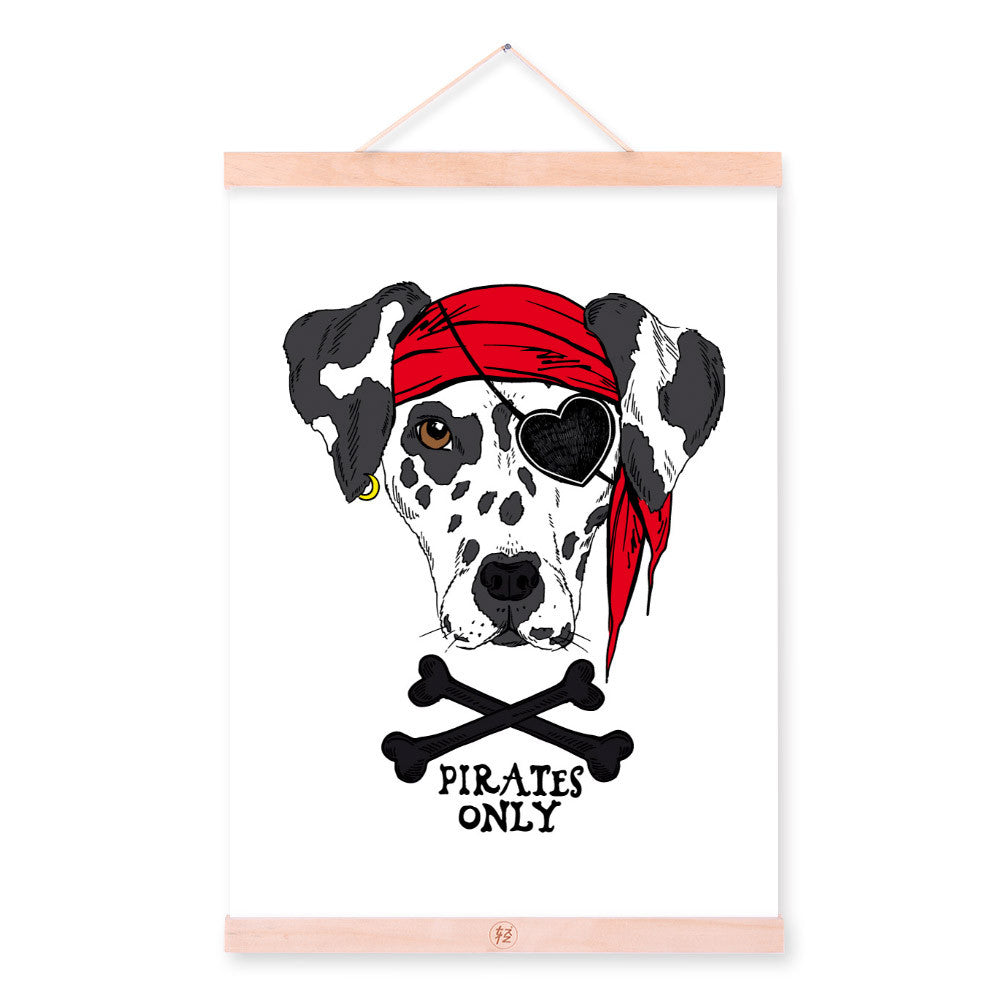 Modern Black White Pirate Anmial Dog A4 Wooden Framed Canvas Painting Wall Art Prints Picture Poster Hanger Kids Room Decoration