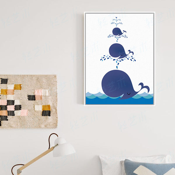 Minimalist Modern Animals Kawaii Whale Family Canvas Big Art Print Poster Nuesery Wall Picture Kids Room Decor Painting No Frame