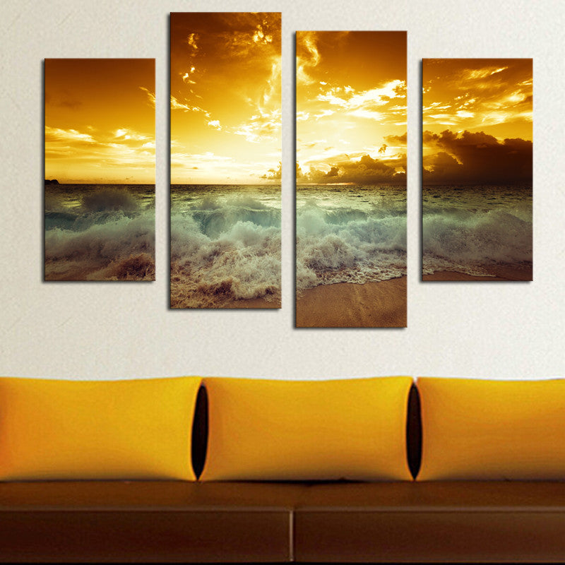 4 Pcs(No Frame) High Quality Hot Sell The Family Decorates Sea wave Print in the Oil Painting On  Canvas Wall Art Picture Gift