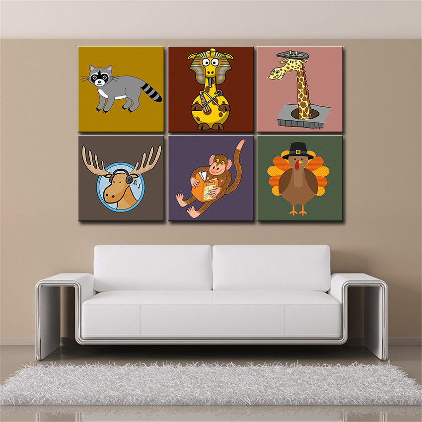 Fashion wall art Canvas painting Oil Painting 6 pieces/set Modern cartoon animals wall pictures kids room wall decor No Frame