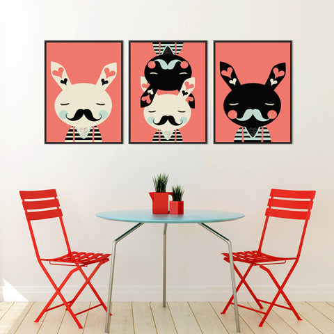 Abstract Rabbit Black White Red Modern Kawaii Canvas Art Print Poster Nursery Wall Picture Kids Room Decor Painting No Frame