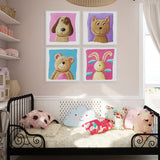Modern Color Cute Animals Cat Bear Dog Canvas A4 Art Print Poster Cartoon Nursery Wall Picture Kids Room Decor Painting No Frame