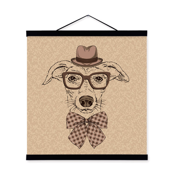 Labrador Dog Face Gentleman Animal Portrait Hipster Wooden Framed Canvas Painting Wall Art Print Picture Poster Hanger Home Deco