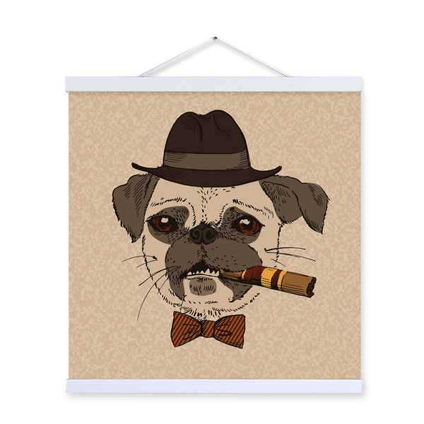 Pug Dog Face Vintage Gentleman Animal Portrait Hipster A4 Wooden Framed Canvas Painting Wall Art Print Picture Poster Home Decor
