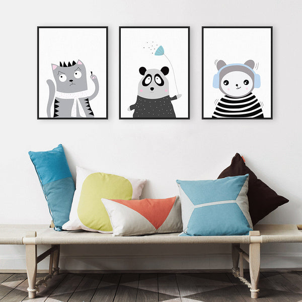Triptych Black White Kawaii Animals Panda Cat A4 Art Prints Poster Nursery Wall Picture Canvas Painting Kids Room Decor No Frame